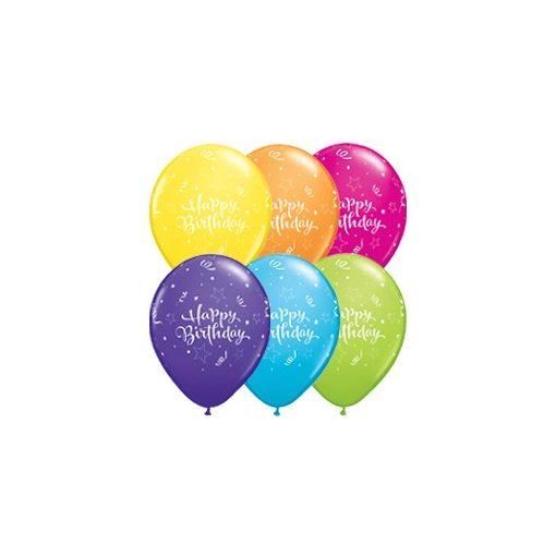 "Szülinapi latex lufi 11"" 28cm 6db Happy Birthday!, 17935"