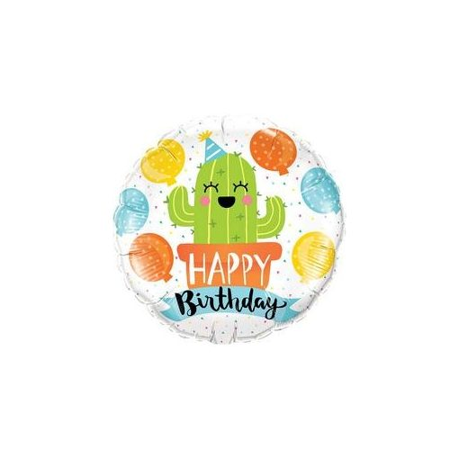 """Szülinapi fólia lufi 18"""" 45cm, kaktusz, Happy Birthday, 78664, héliummal töltve"""