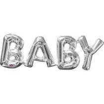 Fólia lufi - Baby ezüst felirat, csak levegővel tölthető, 3310601