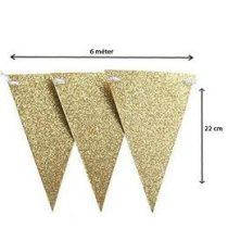 Zászlófüzér 6m csillogó, arany, 60220