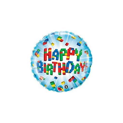 """Szülinapi fólia lufi 18"""" 45cm Happy Birthday, 25541, héliummal töltve"""