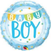 """Fólia lufi babaszületésre 18"""" 45cm - Baby boy, 85901, héliummal töltve"""