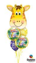 Héliumos luficsokor szülinapra, zsiráf, Happy Birthday - INGYENES KISZÁLLÍTÁSSAL