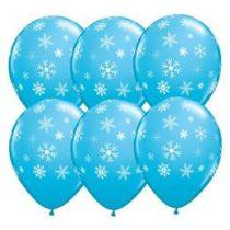 """Mintás latex lufi 11"""" 28cm kék, hópehely, Snowflake, 33531"""