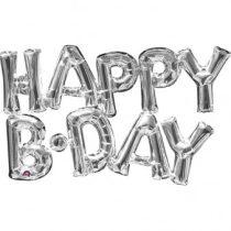 Happy B-day felirat, fólia betűk, csak levegővel tölthető, ezüst, 76x48cm, 07-3309501