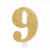 Számgyertya, csillogó arany, 9-es, gi50839