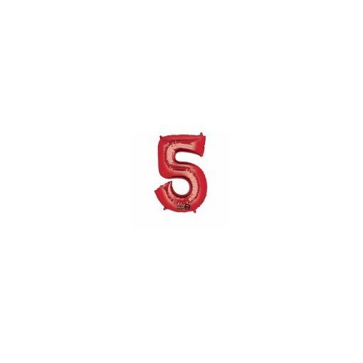 """Számos lufi 34"""" 86cm óriás piros fólia szám, számjegy 5-ös Héliummal töltve"""