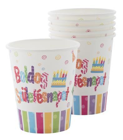 Papírpohár Boldog Születésnapot! 2dl, 6db, PT440100
