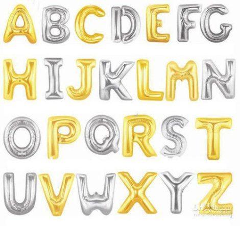 """Betű lufi 34"""" 86cm óriás arany fólia betű, L betű, Héliummal töltve"""