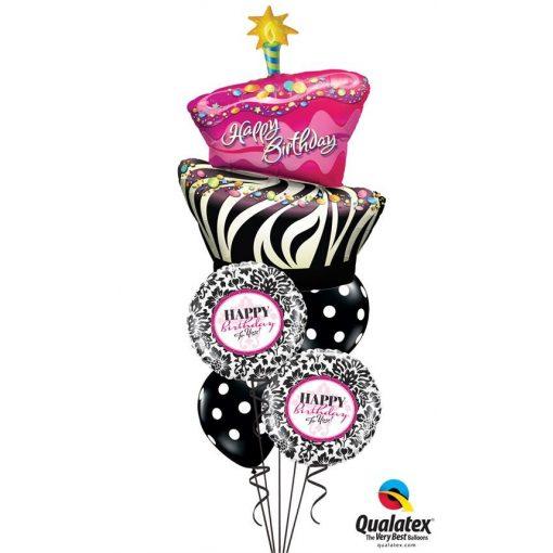 Héliumos luficsokor szülinapra, torta, Happy Birthday - INGYENES KISZÁLLÍTÁSSAL