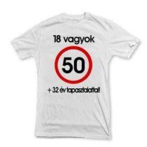 Póló sebességkorlátozó számos felirattal 50-es