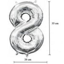 """Számos lufi 16"""" (40cm) fólia szám, számjegy 8 levegővel tölthető, ezüst, 3309001"""