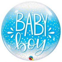 """Mintás Bubbles lufi 22"""" 56cm Baby boy Héliummal töltve, 10040"""