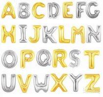 """Betű lufi 31"""" 80cm óriás ezüst fólia betű, M betű, Héliummal töltve"""