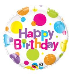 """Szülinapi fólia lufi 18"""" 45cm Happy Birthday, 29827, héliummal töltve"""