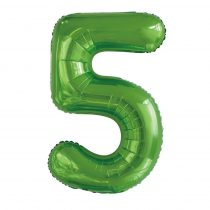 """Számos lufi 34"""" 86cm óriás zöld fólia szám, számjegy 5-ös, Héliummal töltve"""