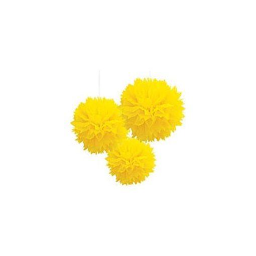 Függő dekoráció, bolyhos papír 41cm 3db, sárga