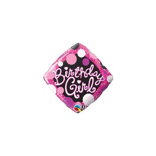 """Szülinapi fólia lufi 18"""" 45cm Birthday Girl, 29592, héliummal töltve"""