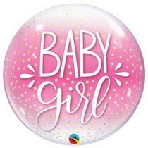 """Mintás Bubbles lufi 22"""" 56cm Baby girl Héliummal töltve, 10035"""