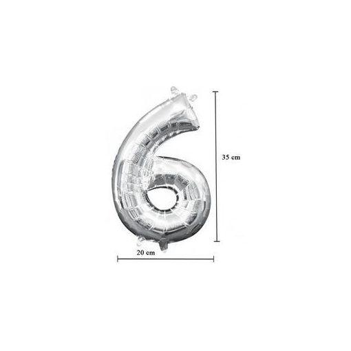 """Számos lufi 16"""" (40cm) fólia szám, számjegy 6 levegővel tölthető, ezüst, 3308601"""