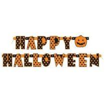 Happy Halloween Feliratú Pöttyös Parti Betűfüzér - 165 Cm