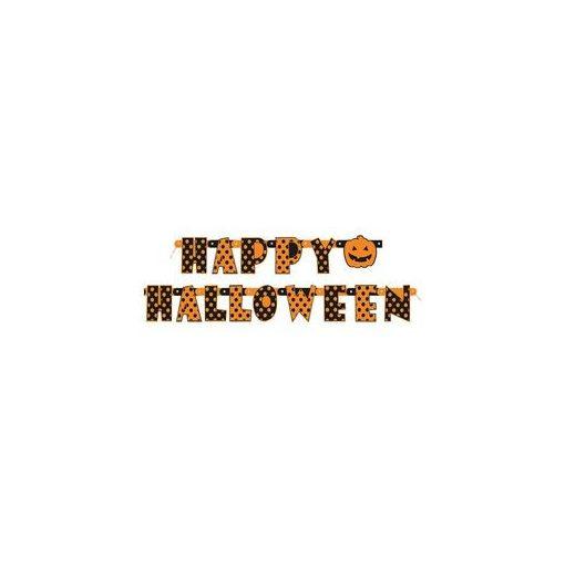 Happy Halloween Feliratú Pöttyös Parti Betűfüzér - 165 cm, 10087