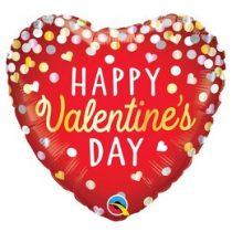 """Fólia lufi 18"""" 45cm """"Happy Valentines Day """" szív, 97165, héliummal töltve"""