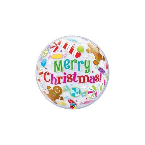 """Karácsonyi Bubbles lufi 22"""" 56cm Héliummal töltve, 43434"""