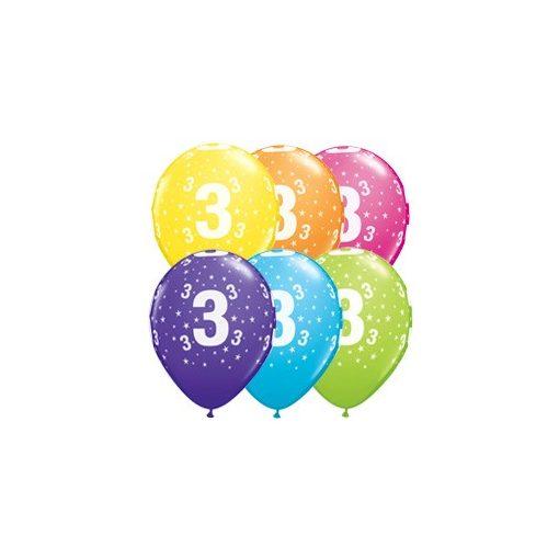 """Latex szám, számos lufi 11"""" 28cm 6db 3-as szám lufi, 17830"""
