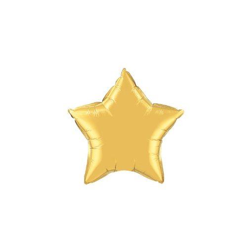 """Egyszínű csillag fólia lufi 20"""" 50cm Gold, arany csillag, 35433, héliummal töltve"""