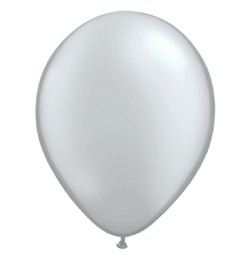 "QUALATEX 11"" (28cm-es) Latex léggömb, metallic silver, ezüst lufi"
