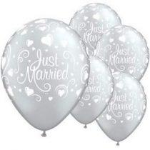 "Esküvői latex lufi 11"" 28cm Just Married, 19136bont"