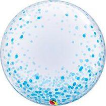 """Deco Bubble lufi 24"""" 61cm krisztálytiszta, átlátszó, kék konfetti mintával, Héliummal töltve, 57789"""