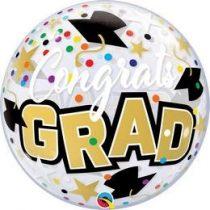 """Ballagási Bubbles lufi 22"""" 56cm Héliummal töltve, Congrats grad, 82523"""