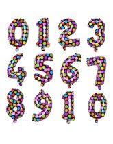"""Számos lufi 16"""" (40cm) fólia szám, számjegy 6-os, levegővel tölthető, fekete alapon-színes pöttyös"""