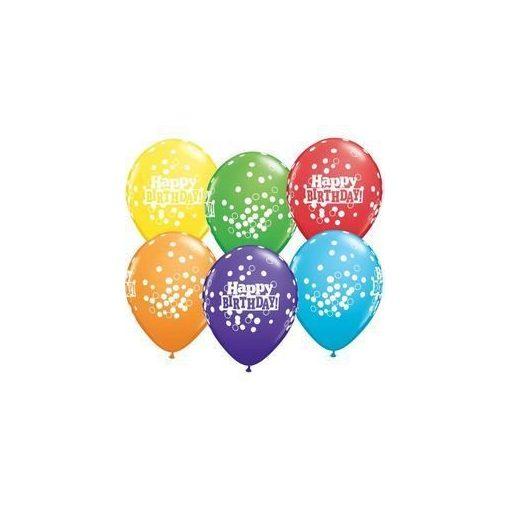 "Szülinapi latex lufi 11"" 28cm 6db Happy Birthday!, 52975"