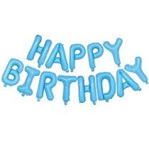 """Happy Birthday felirat, világoskék 16"""" fólia betűk, fehér csillagokkal, csak levegővel tölthető"""