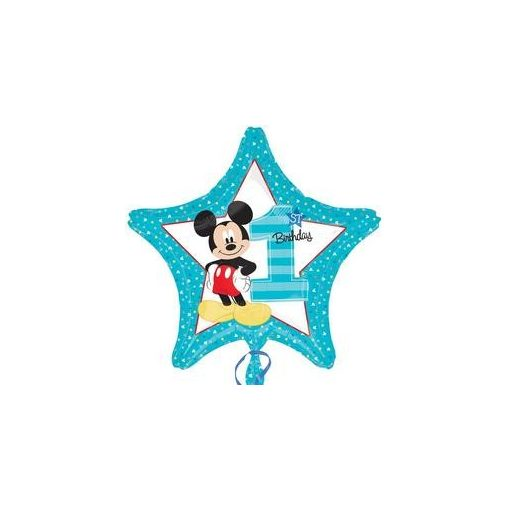 """Szám, Számos fólia lufi 18"""" 45cm - 1-es lufi, Mickey, 3433501, héliummal töltve"""