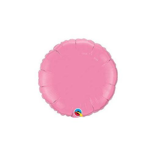 """Egyszínű kerek fólia lufi 18"""" 45cm Rózsaszín, 12910, héliummal töltve"""