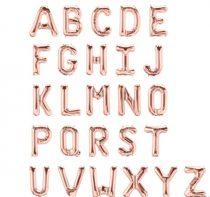 "Betű lufi 16"" 40cm rosegold fólia betű, W betű, levegővel tölthető"