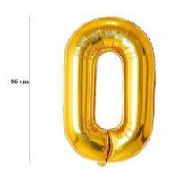 """Számos lufi 34"""" 86cm óriás arany fólia szám, számjegy 0 Héliummal töltve, 2824201"""