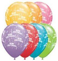 """Szülinapi latex lufi 11"""" 28cm 6db Boldog születésnapot!, festive színek, 48008ferp"""