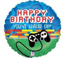 """Szülinapi fólia lufi 18"""" 45cm Happy Birthday, 45362, héliummal töltve"""