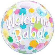 """Bubbles lufi babaszületésre 22"""" 56cm - Welcome Baby, 25860, héliummal töltve"""