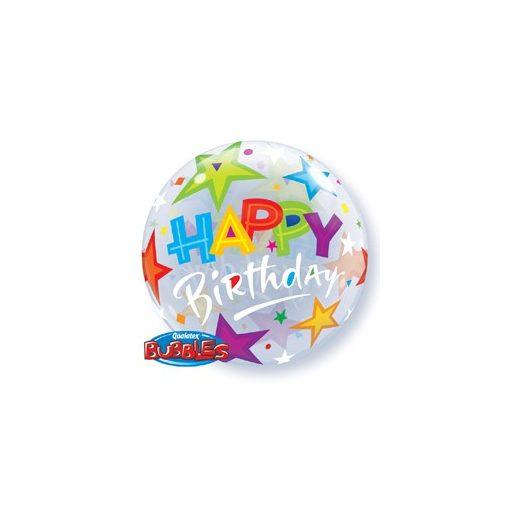 """Szülinapi Bubbles lufi 22"""" 56cm Héliummal töltve Happy Birthday, 23595"""