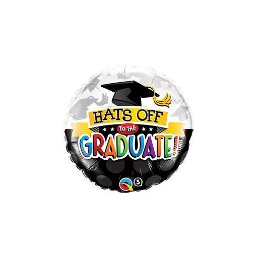 """Ballagási fólia lufi 18"""" 45cm  Hats off to the graduate!, 93214, héliummal töltve"""