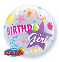 """Szülinapi Bubbles lufi 22"""" 56cm Héliummal töltve Birthday Girl, 27511"""