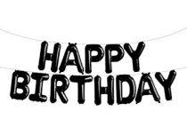 """Happy Birthday felirat, fekete 16"""" fólia betűk, csak levegővel tölthető"""