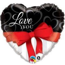 """Fólia lufi 18"""" 45cm """"I love you"""" szív, 21647, héliummal töltve"""
