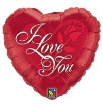 """Fólia lufi 18"""" 45cm """"I love you"""" szív, 24489, héliummal töltve"""